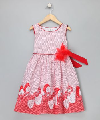 Chit-Chat Red Strawberry Dress - Girls