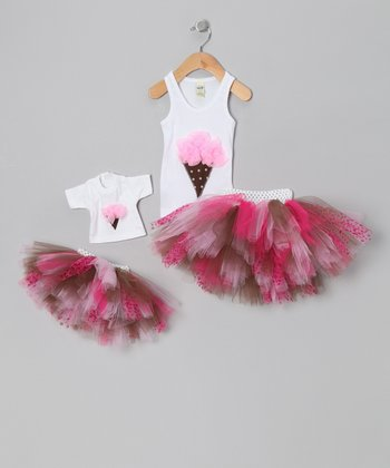 Pink Ice Cream Tutu Set & Doll Outfit - Infant, Toddler & Girls