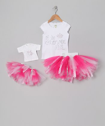 Hot Pink Crown Tutu Set & Doll Outfit - Infant, Toddler & Girls