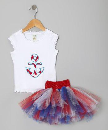 White Anchor Top & Red Glitter Tutu - Infant, Toddler & Girls