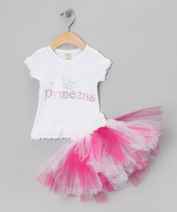 White Princess Tee & Pink Tutu - Infant, Toddler & Girls