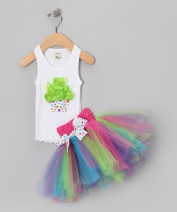 White Cupcake Tank & Pink Tutu - Infant, Toddler & Girls