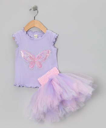 Lavender Butterfly Tee & Tutu - Infant, Toddler & Girls