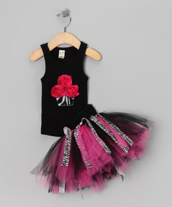 Black Cupcake Tank & Pink Zebra Tutu - Infant, Toddler & Girls