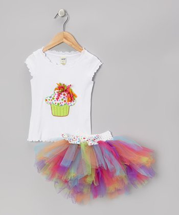 Lime Cupcake Top & Light Rainbow Tutu - Infant, Toddler & Girls
