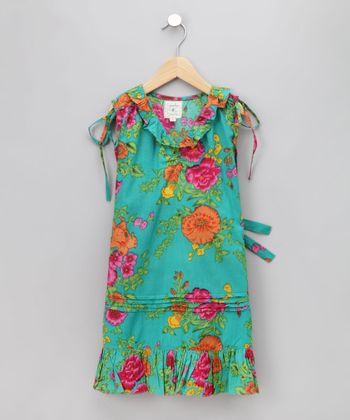Cupcakes & Pastries - Aqua Pumpkin Drop-Waist Dress 18-24 months