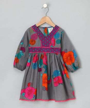 Gray Cinnamon Apple Dress - Girls