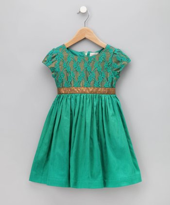 Emerald Cherry Dress 18-24 months