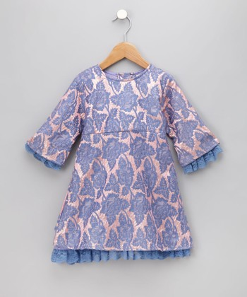 Blue Velvet Brocade Dress - Infant, Toddler & Girls