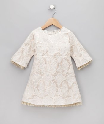 Ivory Brocade Dress - Toddler & Girls