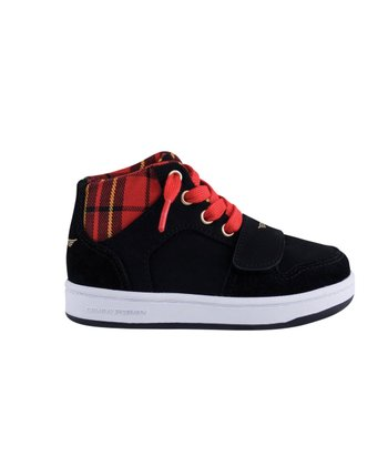 Black & Red Tartan Cesario Shoe - Toddler