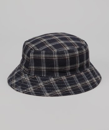 Navy Plaid Bucket Hat