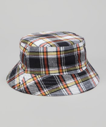 Navy & Orange Plaid Bucket Hat