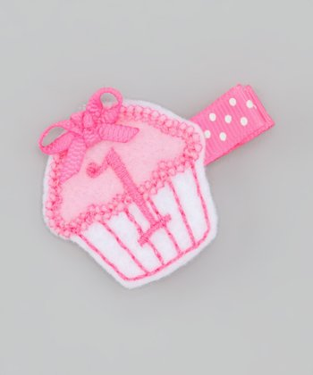 Pink First Birthday Cupcake Clip