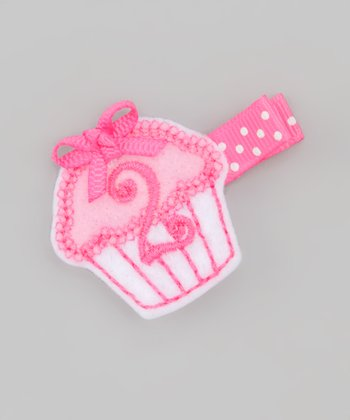 Pink Second Birthday Cupcake Clip
