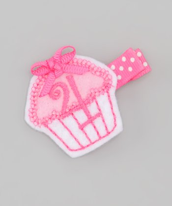 Pink Fourth Birthday Cupcake Clip