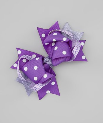 Purple Polka Dot Sweetie Pie Bow Clip