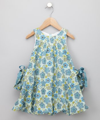 KooChooLoo Baby - Blue Flower Power Balloon Dress 3-6 months