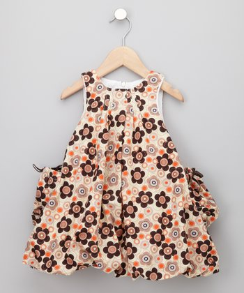 KooChooLoo Baby - Orange Flower Power Balloon Dress 3T