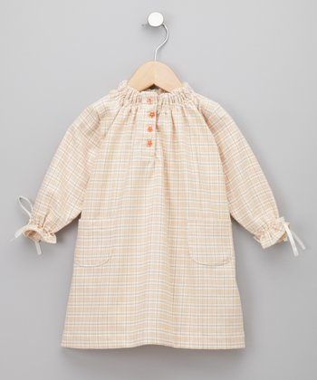 KooChooLoo Baby - Oranges & Sweet Cream Flannel Dress 18-24 months
