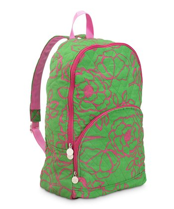 Pink & Green Camelot Quilted Backpack