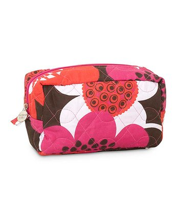 Brown Bloom Quilted Cosmetic Bag