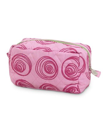 Pink Swirly Dot Quilted Cosmetic Bag