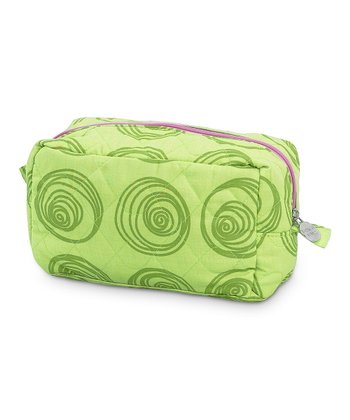 Green Swirly Dot Quilted Cosmetic Bag
