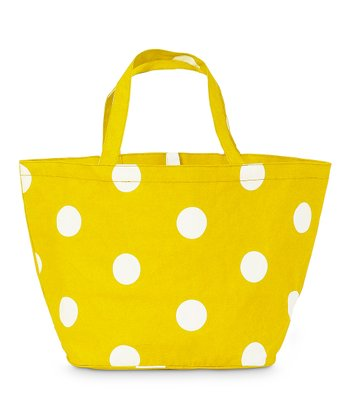 Yellow Team Dot Catch All Tote