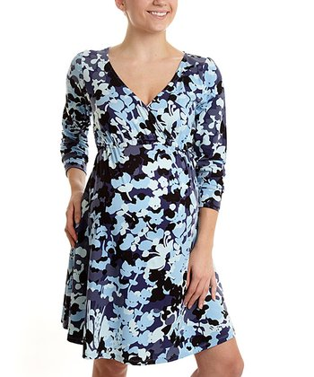 BLUE FLORAL PRINT SIMPLE WRAP DRESS