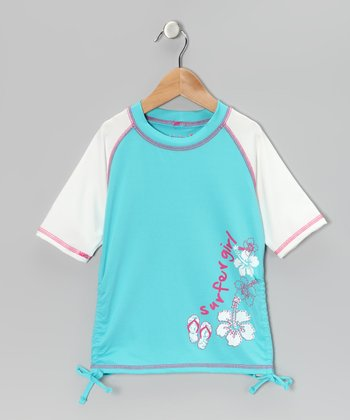 Turquoise 'Surfer Girl' Rashguard - Toddler & Girls