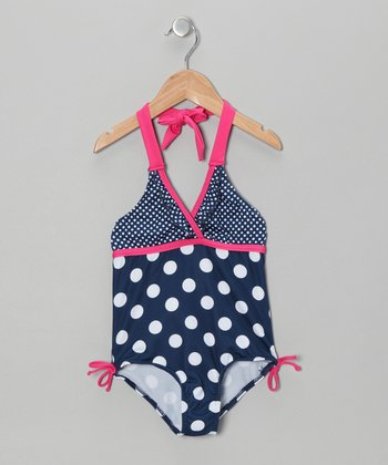 Navy Polka Dot One-Piece - Girls