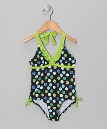 Lime Polka Dot One-Piece - Girls
