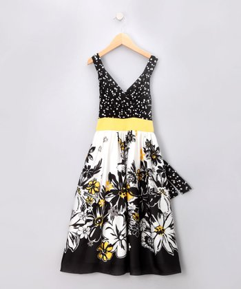 Black & Yellow Surplice Dress