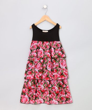 Black & Fuchsia Rose Tiered Sundress