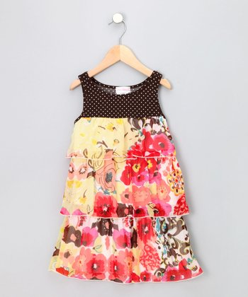 Brown & Yellow Tiered Sundress