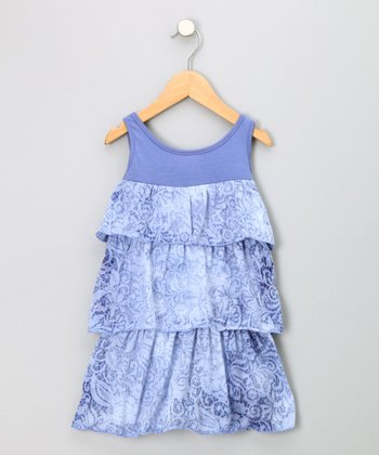 Blue Burnout Tiered Sundress