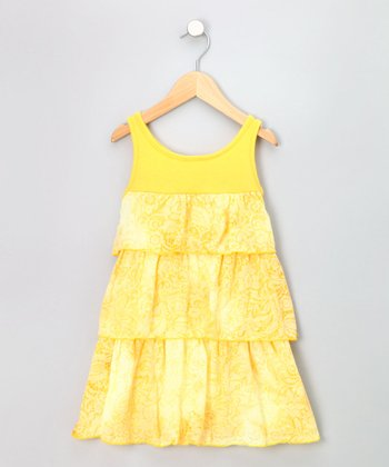 Yellow Burnout Tiered Sundress