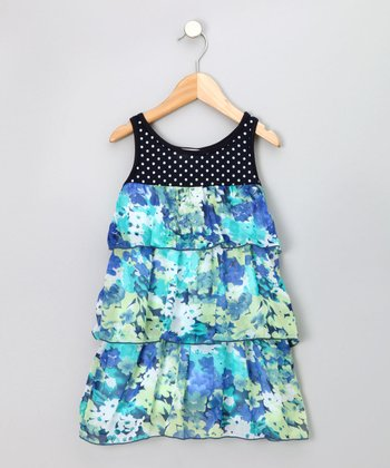 Turquoise & Navy Tiered Sundress