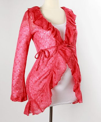 Coral Wrap Maternity Sweater