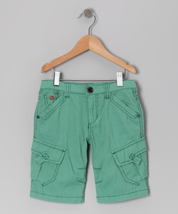 Green Kite Surfer Canvas Jam Shorts - Boys