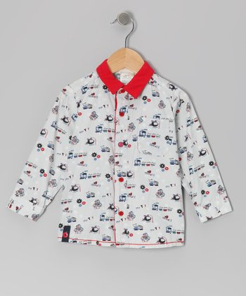 Gray & Red Toy's Story Button-Up - Infant