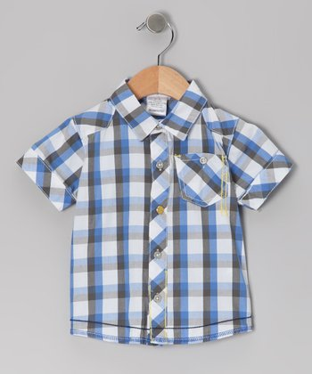 Blue Plaid Urban Shop Button-Up - Infant & Toddler