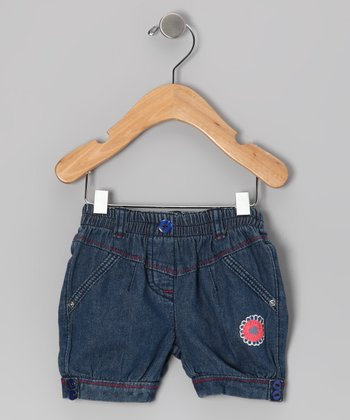 Indigo Denim Gum Drop Clam Digger Shorts - Infant