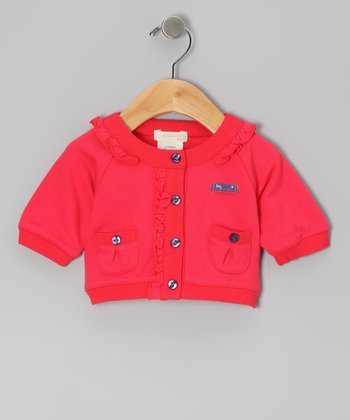 Red Gum Drop Ruffle Cardigan - Infant