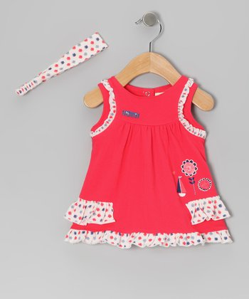 Red Gum Drop Ruffle Tunic & Headband - Infant