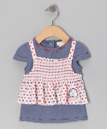 Navy Stripe Gum Drop Layered Top - Infant