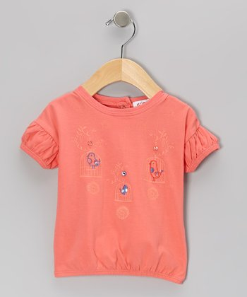 Coral Tweetie Puff-Sleeve Top - Infant & Toddler