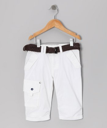 White Catamaran Belted Jam Shorts - Boys