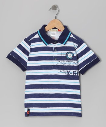Navy & White Stripe Catamaran Polo - Boys